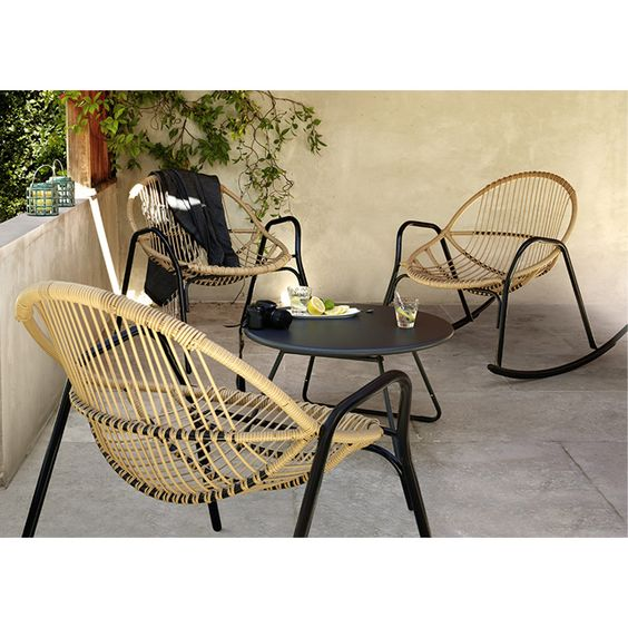 Salon de jardin en m tal collection cuba rocking chair nova castorama deco jardin bois - Salon de jardin metal colore ...