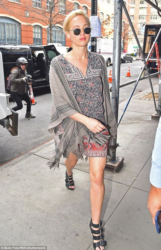 Jennifer Lawerence in our Simone dress and Estrella poncho: