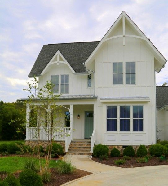 Exterior Paint Colors Green Door Body And Trim All White With White Windows Stately And