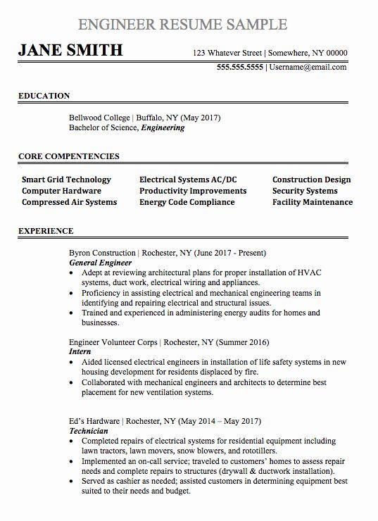 Electrical Engineering Resume Template Best Of Engineering Resume Sample In 2020 Engineering Resume Templates Engineering Resume Mechanical Engineer Resume