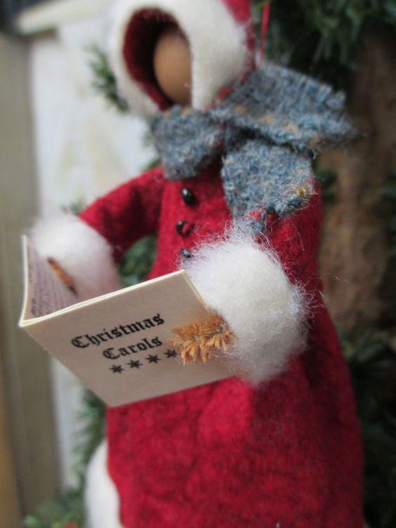 Christmas Caroller Ornament, Handmade