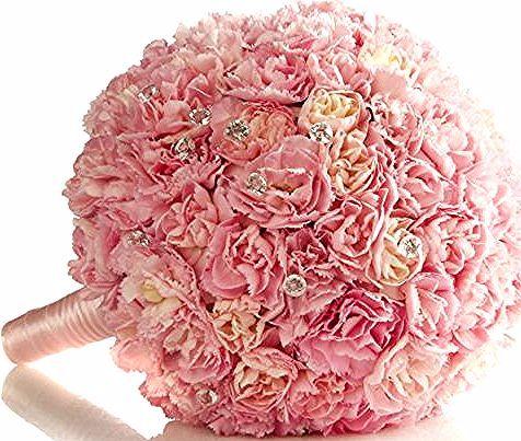 Mazzi Di Fiori Particolari Bouquet Rotondo Monocoloare Rosa Chiaro Brillantini In 2020 Vegetables
