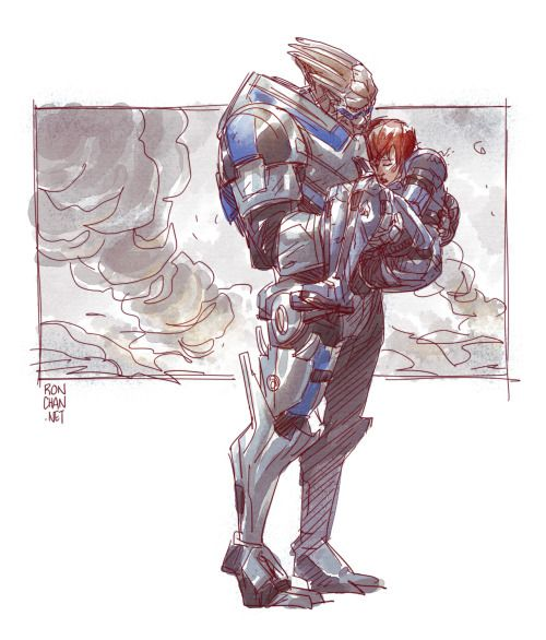 """Garrus…"" ""Shepard, please… Don't try to speak. I've got you. We made it."" ""Garrus, this is important."" ""What is it, Shepard?"" ""Tell anyone you had to carry me out of here, and I'll kick your ass."" ♥"