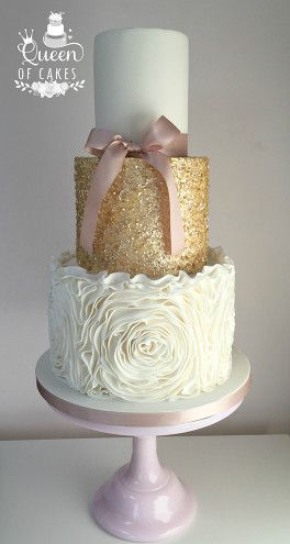 Pretty, edible gold sequin detail wedding cake with ruffle rose effect and pink detail: