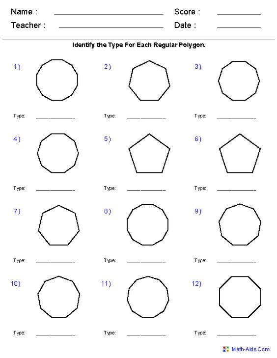 Angles of Regular Polygons Worksheets Teaching – Regular Polygons Worksheet