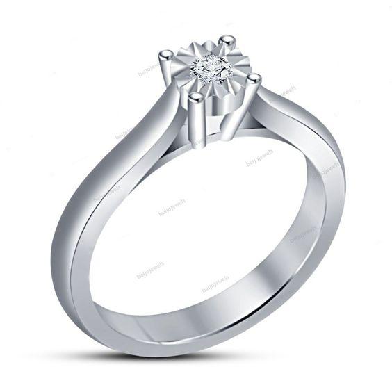 0.70 Carat 14k White Gold Finish Silver Round & Simulated Diamond Women's…
