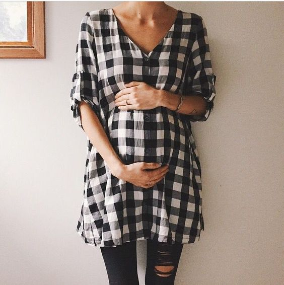 Black and white gingham, casual maternity.