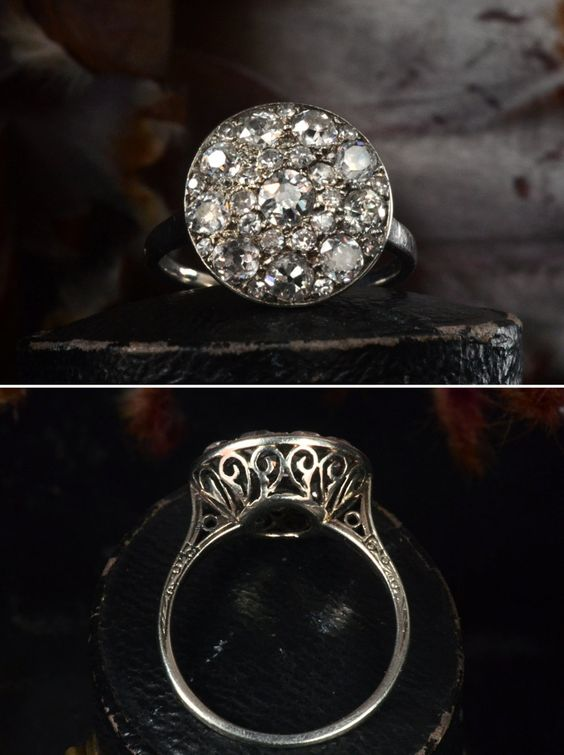 Early 1900s French Platinum Filigree Cluster Ring. #engagementring #vintage #antique
