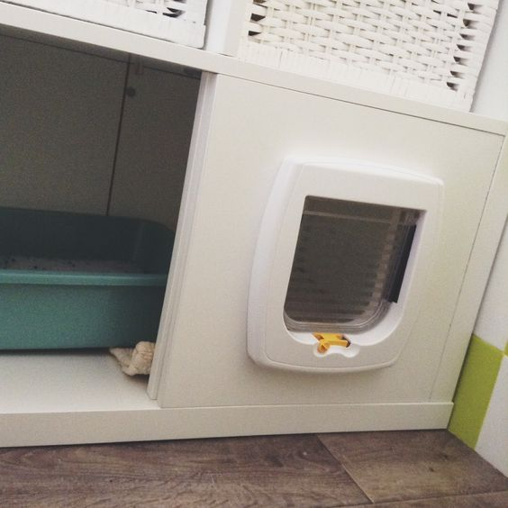 Fabriquer un meuble liti re avec un casier ikea et une chati re chat cat pinterest - Meuble litiere chat ...