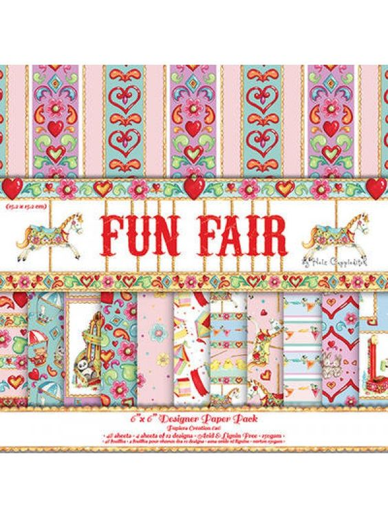 Helz Cuppleditch Paper Pack Fun Fair 6x6. With the bright and fun colourful papers in this 24 sheet paper pack you can create beautiful craft projects. Featuring hearts and hand drawn fun fair motifs in an array of dazzling shades you are sure make stunning cards, scrapbooks and decorations. Also available coordinating Paper Blossoms, Ric Ric Ribbon, Enamel Dots and Glitter Dots.