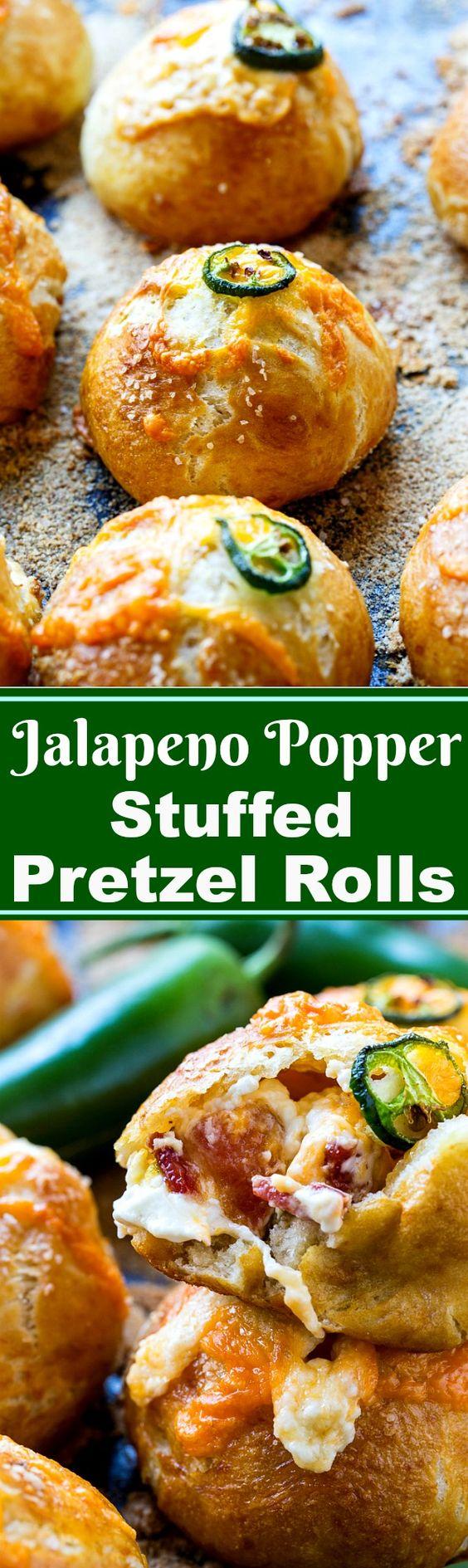 Jalapeno Popper Pretzel Rolls make a great game day food.:
