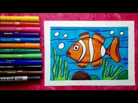 Youtube Fish Drawing For Kids Drawing For Kids Kids Canvas Painting
