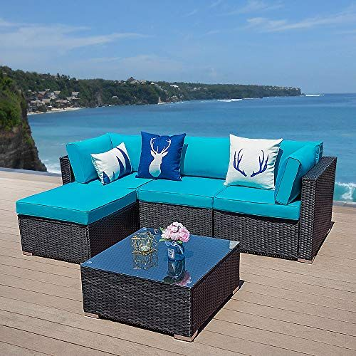 Green4ever 5 Pcs Outdoor Furniture Sectional Sofa Set Patio Wicker