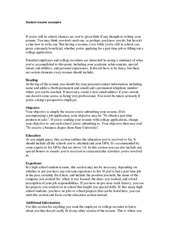High School Student Resume Examples For College Resume Builder - first job resume builder