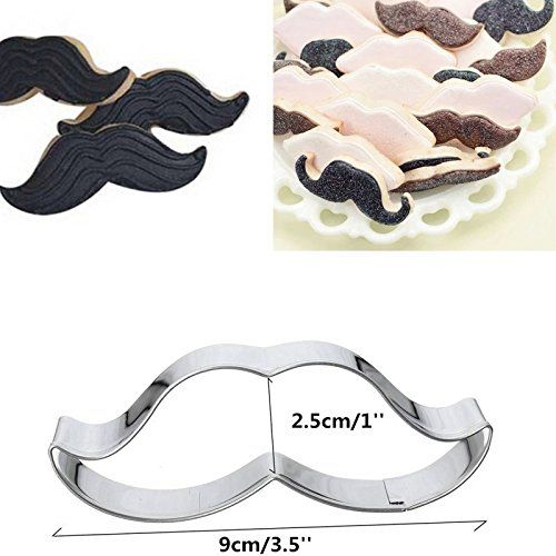 2PCS Moustache Beard Stainless Steel Biscuit Cookie Cutter Cake Decor Mould Tool