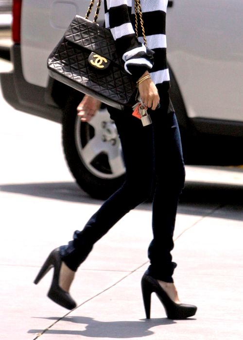 Perfect: Chanel, stripes, skinny jeans & high heels.
