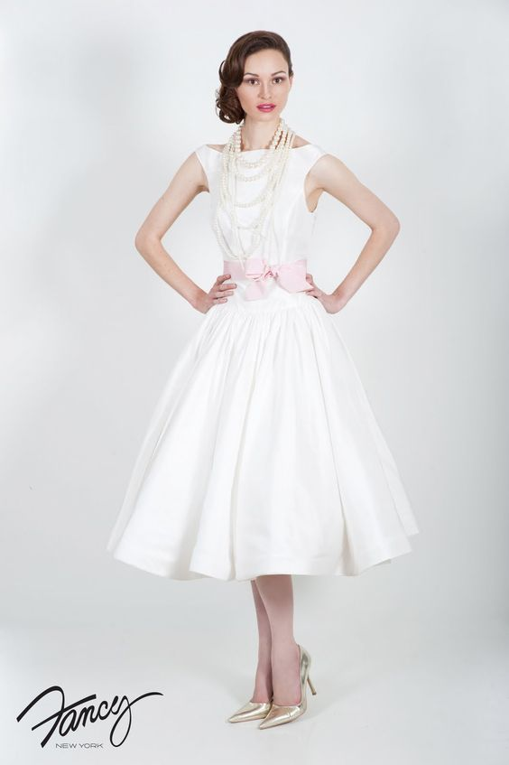 Something White: Tea Time: Tea Length Wedding Dresses - 50s ...