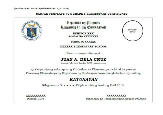 SAMPLE TEMPLATE GRADE 6-10-12 CERTIFICATE - DepEd LPu0027s DepEd - sample graduation certificate