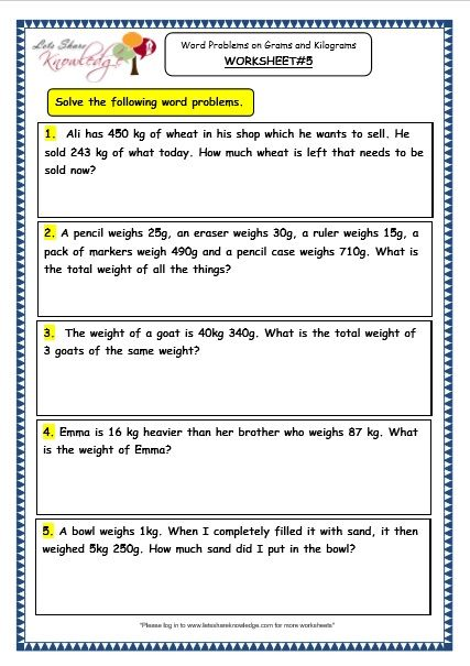 Grade 3 Maths Worksheets: (12.7 Word Problems On Grams And Kilograms)  Word Problem Worksheets, Measurement Word Problems, Measurement Worksheets