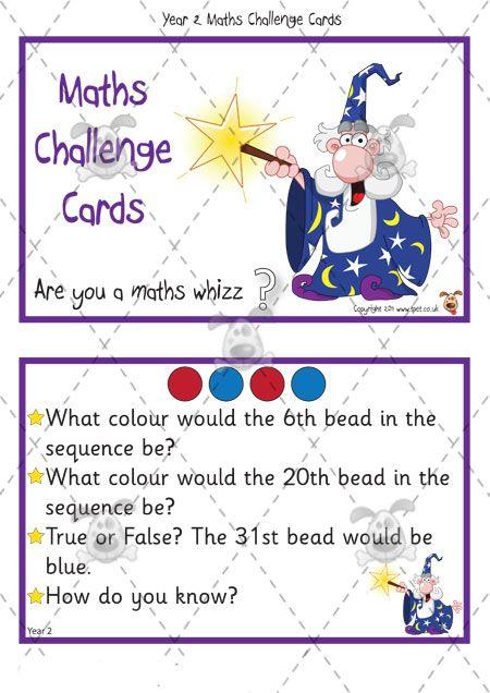 Teacher's Pet Activities & Games » Year 2 Maths Challenge Cards ...
