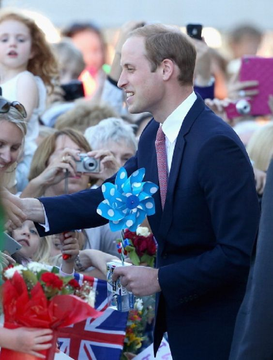 Prince William, Duke of Cambridge meets members of the public outside the Portrait Gallery on 24.04.14 in Canberra, Australia.