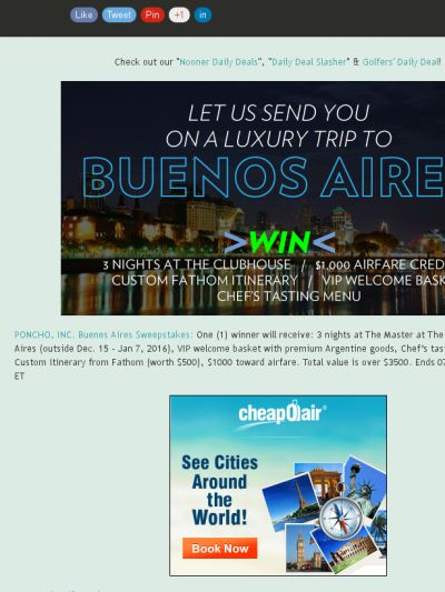 Win 3 Nights in Buenos Aires at The Master at The Clubhouse, Includes Airfare!
