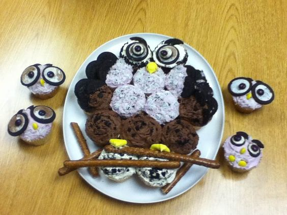 Owl themed carry-in at work. (I used food coloring, frosting, snow caps, sweetened coconut, oreos, M&Ms, Peeps and pretzel rods.)