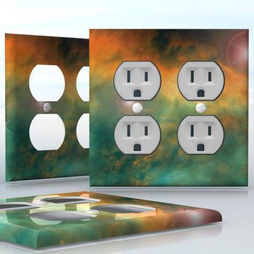 DIY Do It Yourself Home Decor - Easy to apply wall plate wraps | A New Galaxy Green and yellow space clouds wallplate skin sticker for 2 Gang Wall Socket Duplex Receptacle | On SALE now only $4.95