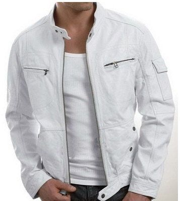 Men&39s leather jacket Men white leather jacket by Myleatherjackets