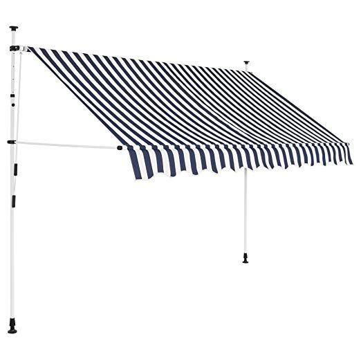 104 Festnight Outdoor Patio Manual Retractable Awning Sunshade Shelter Canopy Blue And White Stripes 118 Retractable Awning Patio Awning Patio