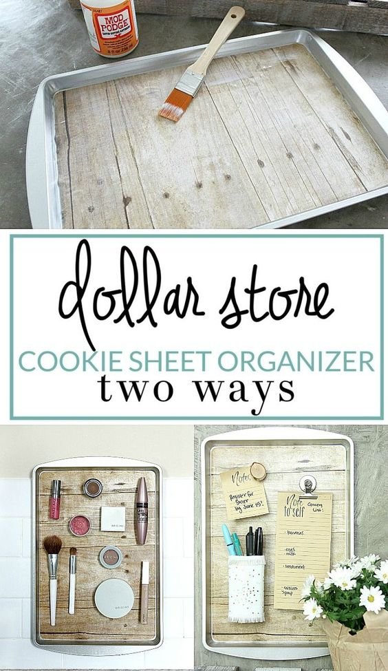 Transform a simple Dollar Store cookie sheet into a handy magnetic organizer with a few simple supplies. Use this DIY organizing solution anywhere in your house!