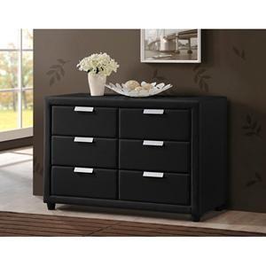Pageant Wood Contemporary Upholstered Dresser in Black | Nebraska Furniture Mart