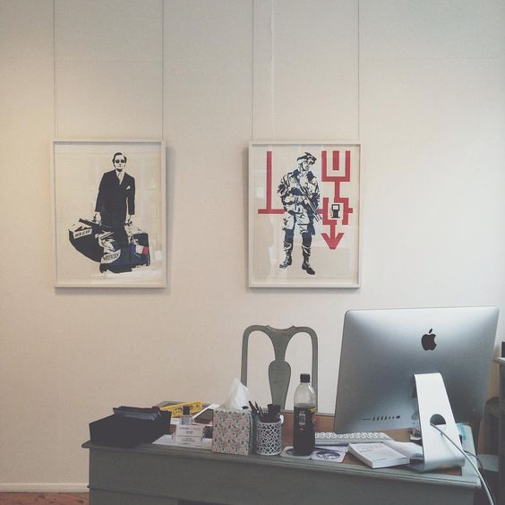 Blek le Rat pieces hanging behind our desk come and see them at #lilford #gallery #folkestone #blek #le #rat #artist #art #galleries #streetart #stencil #soldier #gangster #mafia #france #french