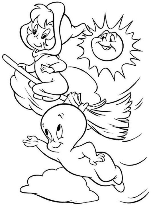 Coloring Page Casper The Friendly Ghost Casper And Wendy Fly