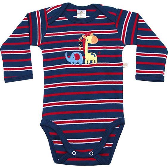 Body Bebê Menino Girafa Listrado Vermelho - Best Club :: 764 Kids | Roupa bebê e infantil