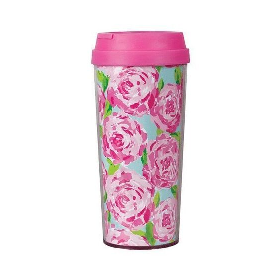 Lilly Pulitzer Thermal Mug First Impression (€17) ❤ liked on Polyvore featuring drinks, food, fillers, accessories and cups