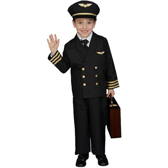 Make your little boy the center of attention with this adorable pilot costume for kids. Crafted of polyester, this realistic-looking costume comes with pants, hat, and a jacket. Sleek embroidered patches and genuine buttons complete the look.