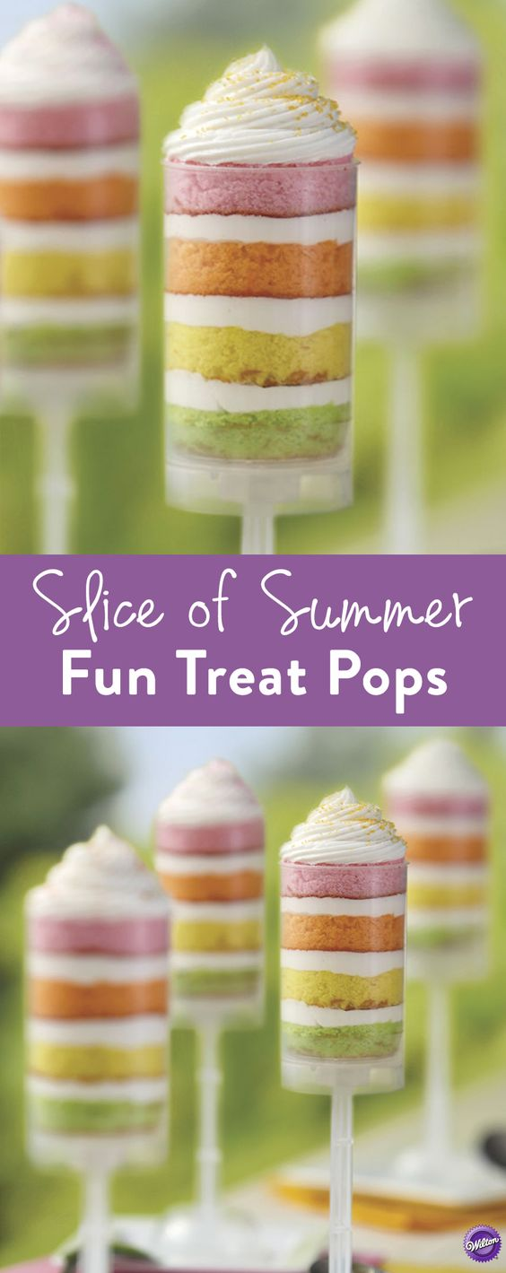 How to Make Summer Treat Pops - These colorful summer treats are sure to please hungry kids and adults of all ages! Layered with colorful cake and creamy icing, these fun treat pops are great for summer weddings or large summer celebrations. Use the Color Right Performance Color System to tint your batter in different summer shades and have fun layering these treat pops with the whole family!