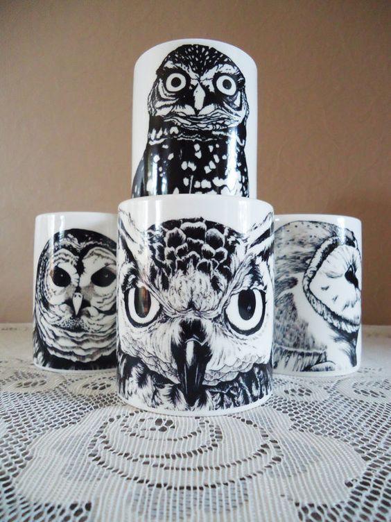 i need these.: Owl Coffee, Cartoonish Owls, Mugs Set, Black Owl, Owls Owls, Owl Mugs, Coffee Mugs