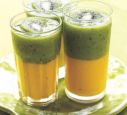 Kiwi Mango Layered Smoothie...2 1/2 cups frozen mango  3/4 cup vanilla fat-free yogurt  1/4 cup honey  2 tablespoons water  1/2 teaspoon grated lime rind  3 ripe kiwifruit, peeled  2 cups ice cubes  2 tablespoons green tea  1/2 cup packed baby spinach