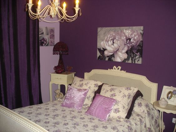 purple romantic bedroom in france all things french pinterest