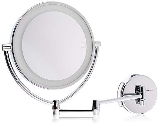 Ovente Wall Mount Mirror With 3 Led Lighting Tones Daylight Cool Warm 9 5 Inch Battery Or Cord Operated 1x 10x Magnification Polished Chrome Mlw95ch1x1 Wall Mounted Mirror Wall Mounted Vanity Mirror