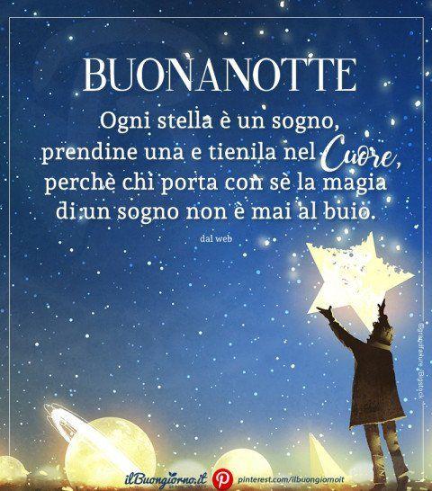 Immagine Della Buonanotte Con Stella E Bambino Frase Sui