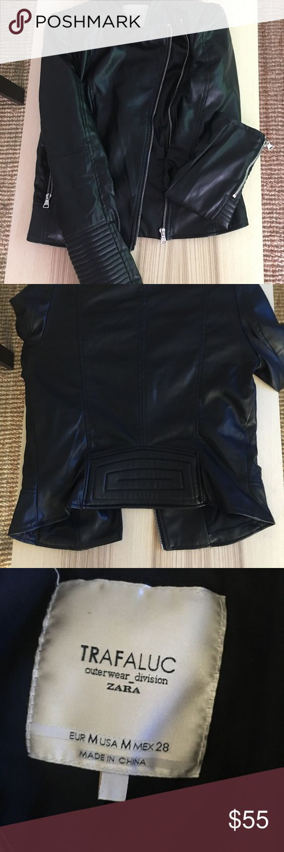 Zara vegan leather jacket Black vegan leather with silver hardware. Great jacket, very versatile. Zara Jackets & Coats