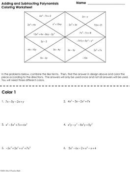 math worksheet : add and subtract polynomials coloring worksheet  coloring  : Adding And Subtracting Polynomials Worksheet