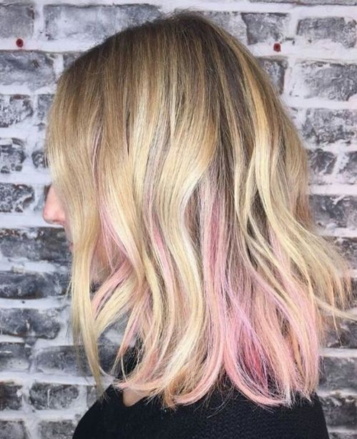 15 Of The Glorious Pink Lowlights On Medium Bob Hairstyles To Show Off In 2019 Trendy Hairstyles Peekaboo Hair Pink Blonde Hair Blonde Hair With Pink Highlights
