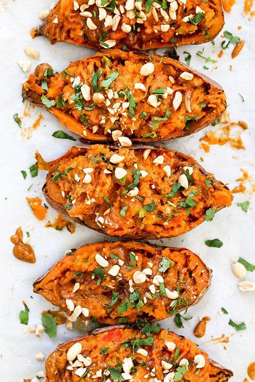 Thai Stuffed Sweet Potato Skins Floating Kitchen Recipe Sweet Potato Skins Healthy Vegan Snacks Whole Food Recipes