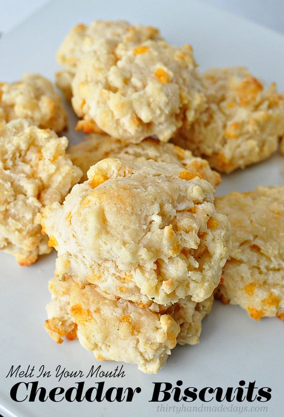 Melt In Your Mouth Cheddar Biscuits-  these biscuits are amazing! And simple to make.  | Thirty Handmade Days