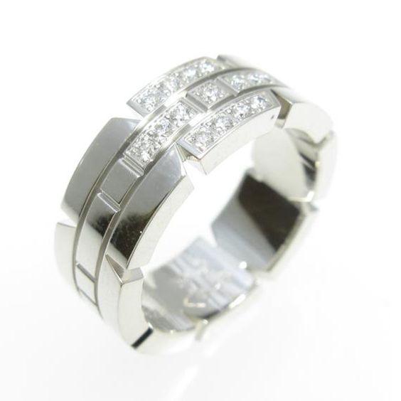 Cartier 18K White Gold Tank Francaise Half Diamond Ring US Size 3.75