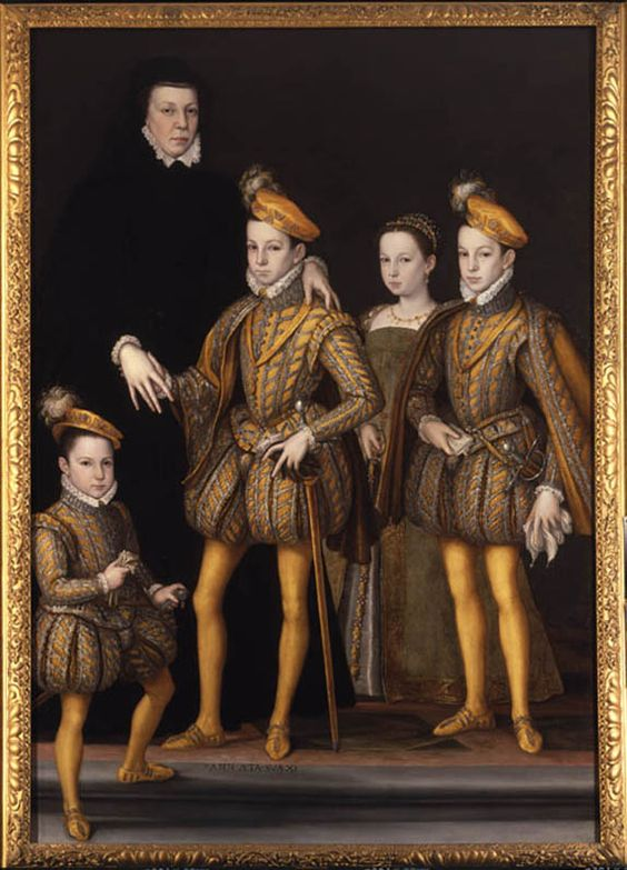 Catherine de' Medici and her children: Charles IX, Henry III, Francis the duke d'Alençon, and Margaret queen of Navarre. Francois Clouet.  Once in the collection of Horace Walpole at Strawberry Hill, it is now in the Victoria and Albert.